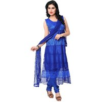 Blue Brasso Net Designer Dress Material