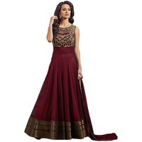Maroon Net Designer Anarkali Dress Material