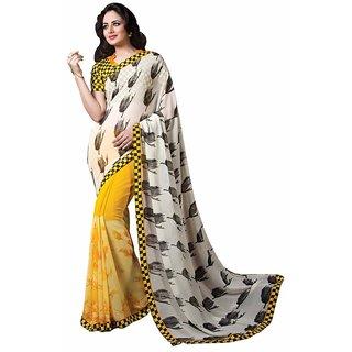 Vibhaa White,Yellow Georgette Printed Saree