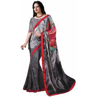 Vibhaa Grey Georgette Printed Saree