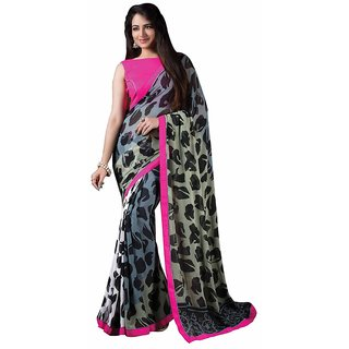 Vibhaa Grey Georgette Printed Saree
