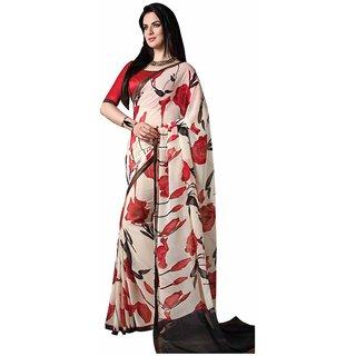 Vibhaa White Georgette Printed Saree