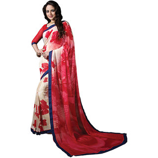 Vibhaa Red,White Georgette Printed Saree