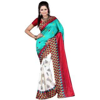 Vibhaa Green Art Silk Printed Saree