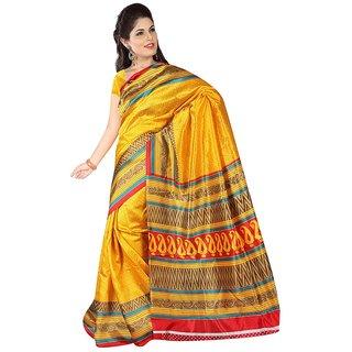 Vibhaa Yellow Art Silk Printed Saree