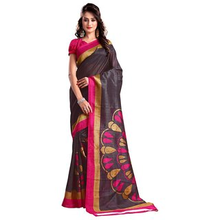 Vibhaa Brown Silk Printed Saree