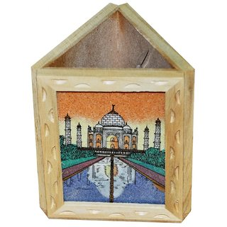 JaipurRaga Incredible Gemstone Taj Mahal Painting Wooden Pen Stand Item