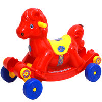 KGC Baby Horse Gabru Red Musical Toy With Rocker Cum Rider 2 In 1