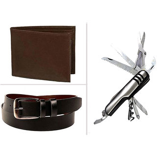 Combo of Brown Wallet Black Belt And Swiss knife For Men