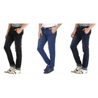 LONDON LOOKS Slim Fit Mens Black, Dark Blue  Light Blue Jeans (Combo of 3)