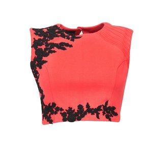 Fabboom Orange Beautiful Embroidered Designer Unstitched Blouse
