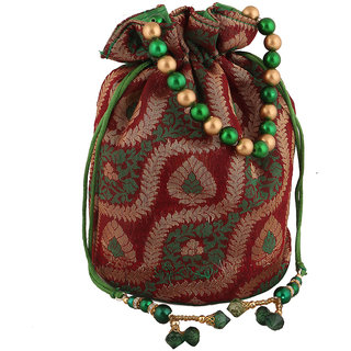 Sukkhi Traditional Red Green and Gold Potli Bag