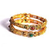Exclusively Green And Maroon Stone Studded Bangles 346018