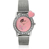 Arum Latest Designer Pink Heart Watch For Girls