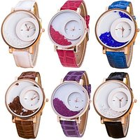 Style Feathers Combo Of 6 White,Red,Blue,Brown,Purpel,Black Analog Watch - For Women, Girls