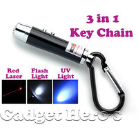 Gadget Heros 3 in 1 Portable Emergency Key Chain Has Laser Pointer, Led Torch (Flash Light)  UV Light (Color May Vary)