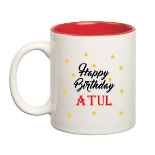 Happy Birthday Atul Inner Red Ceramic Mug (350ml)