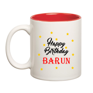 Happy Birthday Barun Inner Red Ceramic Mug (350ml)