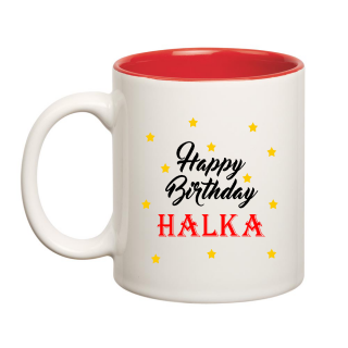 Happy Birthday Halka Inner Red Ceramic Mug (350ml)