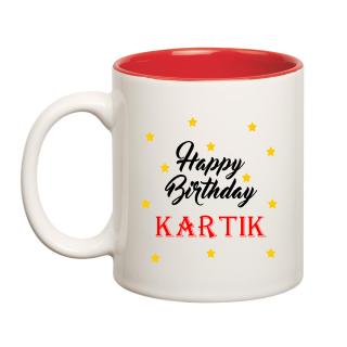 Happy Birthday Kartik Inner Red Ceramic Mug (350ml)