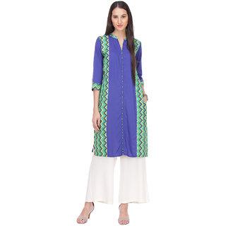 Varanga Blue Printed Rayon Stitched Kurti