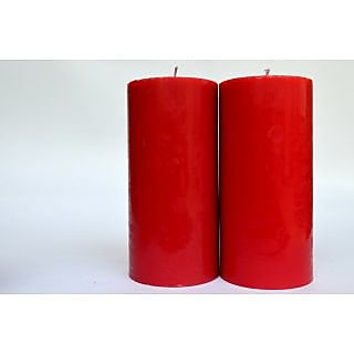 Unscented Pillar Candles - Red - Set of 2