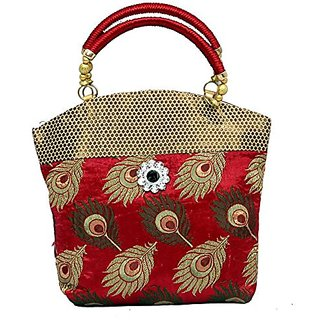 Womens Handbag (Multicolor with peacock feather design)