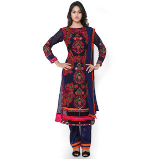 Vastrani Navy Blue Georgette Embroidered Party Wear Semi-Stitched Salwar Suit 356Dr3087A