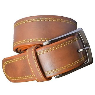 Sunshopping mens leather brown needle pin point belt