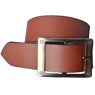 sunshopping mens brown Leatherite h buckle belt