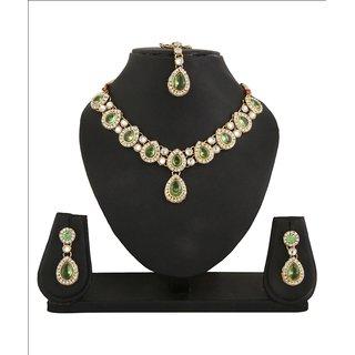 Adoreva Green Kundan Necklace Earrings Mang Tika Set for women-564