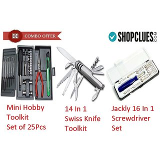Buy Mini Hobby Toolkit + 14 In 1 Steel Knife + Jackly 16 In 1 Toolkit - 25SWK16