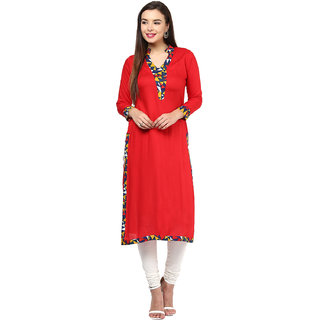 IVES Red Rayon V-Neck 3/4th Sleeve Printed Kurti