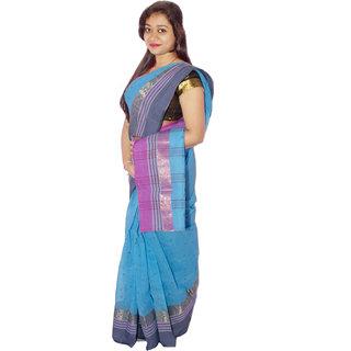 Sk Textile Women Tant Cotton Saree Multi-Color
