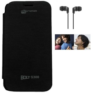 RealDealz Durable PU Leather Flip Cover For Micromax Bolt S300 (Black)+3.5mm Stereo New Earphones Accessory Combo