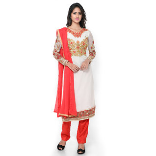 Vastrani Off White And Red Georgette Embroidered Party Wear Unstitched Dress Material 375Dr4005A