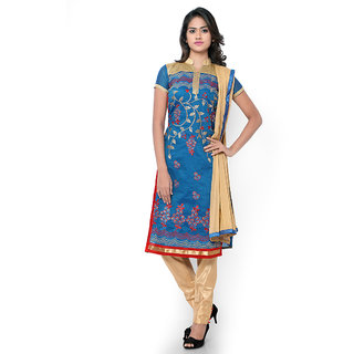 Vastrani Blue And Beige Chanderi Embroidered Party Wear Unstitched Dress Material 376Dr9204A