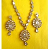 Exclusive Designer Kundan Gold Plated Necklace Set-White