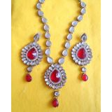 Exclusive Designer Kundan Gold Plated Necklace Set-Red