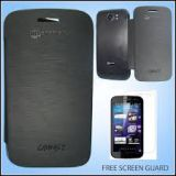 Black Battery Flip Cover Carry Case For Micromax A110 Superfone Canvas 2  Free Screen Guard