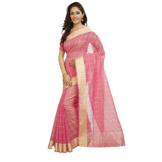Rajnandini Womens Ethnic Wear Pink Colour Pure Kota Doria Saree with Zari Woven Border