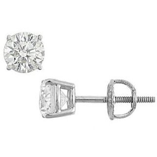 14K White Gold Round Diamond Stud Earring 1.25 Ct.