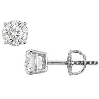 14K White Gold Round Diamond Stud Earring 1.25 Ct.