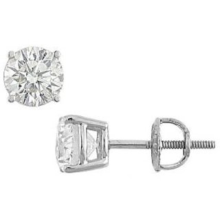 14K White Gold Round Diamond Stud Earring 2.00 Ct.