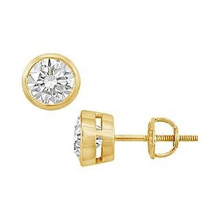 14K Yellow Gold Bezel-Set Round Diamond Stud Earring 0.50 Ct.