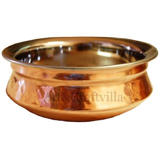 Artandcraftvilla Handmade Steel Copper Vegetable Serving Handi Bowl 300 ML for use Restaurant Hotel Home