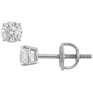 18K White Gold Round Diamond Stud Earring 0.25 Ct.