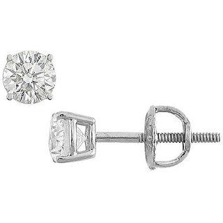18K White Gold Round Diamond Stud Earring 0.33 Ct.