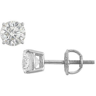 18K White Gold Round Diamond Stud Earring 1.00 Ct.