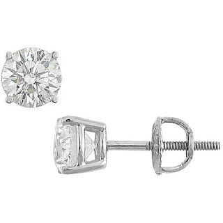 18K White Gold Round Diamond Stud Earring 1.50 Ct.